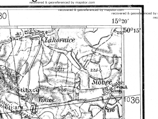Reduced fragment of topographic map de--kdr4--100k--403--(1943)--N050-15_E014-20--N049-45_E015-20; towns and cities Prague, Kolin, Cesky Brod