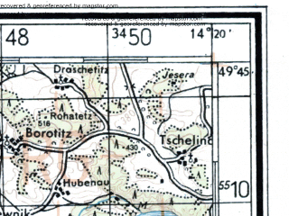 Reduced fragment of topographic map de--kdr4--100k--405--(1945)--N049-45_E013-20--N049-15_E014-20; towns and cities Plzen, Pribram, Pisek, Rokycany