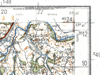Reduced fragment of topographic map de--kdr4--100k--412--(1944)--N049-45_E020-20--N049-15_E021-20; towns and cities Nowy Sacz, Gorlice, Krynica, Limanowa, Stary Sacz