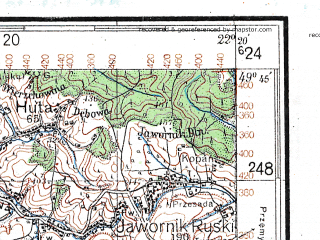 Reduced fragment of topographic map de--kdr4--100k--413--(1941)--N049-45_E021-20--N049-15_E022-20; towns and cities Sanok, Jaslo, Krosno Odrzanskie, Rymanow, Strashevichi