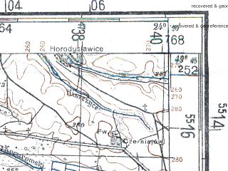 Reduced fragment of topographic map de--kdr4--100k--415--(1944)--N049-45_E023-20--N049-15_E024-20; towns and cities Drogobych, Stryy, Truskavets, Borislav, Nikolayev