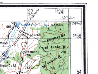 Reduced fragment of topographic map de--kdr4--100k--418--(1945)--N049-15_E014-20--N048-45_E015-20; towns and cities Ceske Budejovice, Jindrichuv Hradec, Gmund, Waidhofen