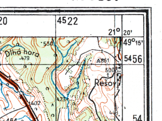 Reduced fragment of topographic map de--kdr4--100k--424--(1944)--N049-15_E020-20--N048-45_E021-20; towns and cities Presov, Spisska Nova Ves, Kezmarok, Levoca