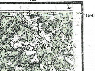 Reduced fragment of topographic map de--kdr4--100k--425--(1944)--N049-15_E021-20--N048-45_E022-20; towns and cities Humenne, Snina