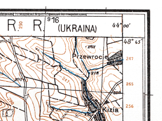 Reduced fragment of topographic map de--kdr4--100k--441--(1941)--N048-45_E025-20--N048-15_E026-20; towns and cities Chernovtsy, Vashkovtsy, Boyany, Zastavna, Rusov