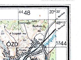 Reduced fragment of topographic map de--kdr4--100k--448--(1944)--N048-15_E019-20--N047-45_E020-20; towns and cities Ozd, Salgotarjan