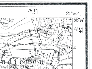 Reduced fragment of topographic map de--mb--025k--06_094--(1939)--N055-24_E021-20--N055-18_E021-30; towns and cities Shilute