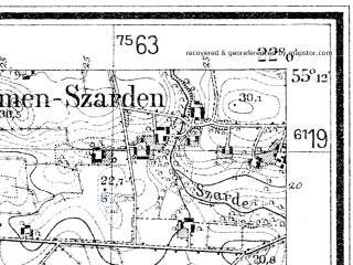 Reduced fragment of topographic map de--mb--025k--08_097--(1934)--N055-12_E021-50--N055-06_E022-00; towns and cities Pagegyay