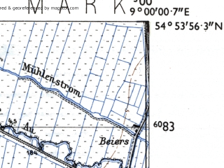 Reduced fragment of topographic map de--mb--025k--11_019-ams--(1955)--N054-54_E008-50--N054-48_E009-00; towns and cities Suderlugum