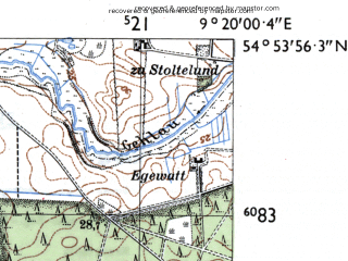 Reduced fragment of topographic map de--mb--025k--11_021-ams--(1955)--N054-54_E009-10--N054-48_E009-20