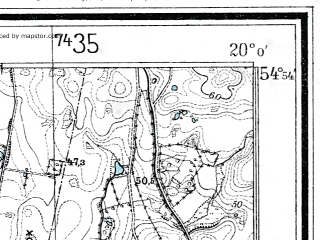Reduced fragment of topographic map de--mb--025k--11_085--(1936)--N054-54_E019-50--N054-48_E020-00; towns and cities Yantarnyy