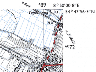 Reduced fragment of topographic map de--mb--025k--12_018-ams--(1955)--N054-48_E008-40--N054-42_E008-50; towns and cities Niebull