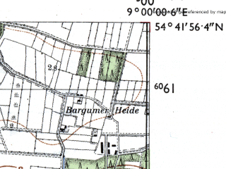 Reduced fragment of topographic map de--mb--025k--13_019-ams--(1955)--N054-42_E008-50--N054-36_E009-00; towns and cities Bredstedt