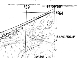Reduced fragment of topographic map de--mb--025k--13_068-ams--(1952)--N054-42_E017-00--N054-36_E017-10