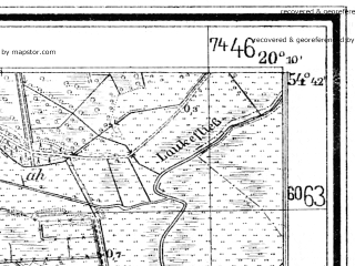 Reduced fragment of topographic map de--mb--025k--13_086--(1935)--N054-42_E020-00--N054-36_E020-10; towns and cities Komsomol'sk