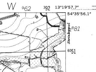 Reduced fragment of topographic map de--mb--025k--14_045-ams--(1952)--N054-36_E013-10--N054-30_E013-20