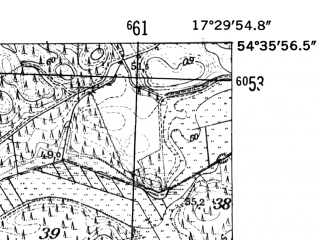 Reduced fragment of topographic map de--mb--025k--14_070-ams--(1952)--N054-36_E017-20--N054-30_E017-30