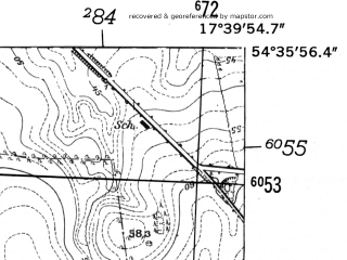 Reduced fragment of topographic map de--mb--025k--14_071-ams--(1952)--N054-36_E017-30--N054-30_E017-40