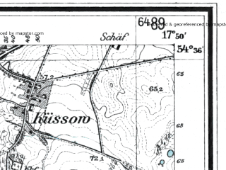 Reduced fragment of topographic map de--mb--025k--14_072--(1929)--N054-36_E017-40--N054-30_E017-50; towns and cities Lebork