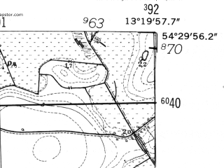 Reduced fragment of topographic map de--mb--025k--15_045-ams--(1952)--N054-30_E013-10--N054-24_E013-20
