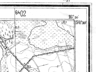 Reduced fragment of topographic map de--mb--025k--15_064--(1935)--N054-30_E016-20--N054-24_E016-30; towns and cities Darlowo