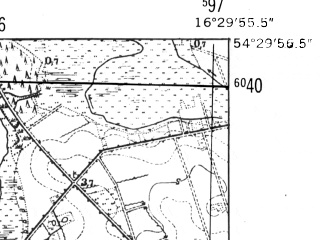 Reduced fragment of topographic map de--mb--025k--15_064-ams--(1952)--N054-30_E016-20--N054-24_E016-30; towns and cities Darlowo