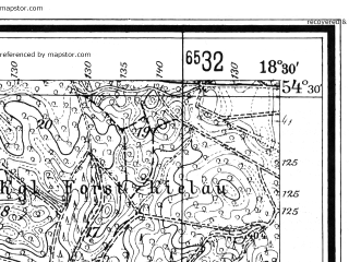 Reduced fragment of topographic map de--mb--025k--15_076--(1940)--N054-30_E018-20--N054-24_E018-30