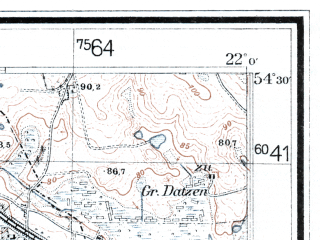 Reduced fragment of topographic map de--mb--025k--15_097--(1942)--N054-30_E021-50--N054-24_E022-00