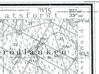 Reduced fragment of topographic map de--mb--025k--15_098--(1932)--N054-30_E022-00--N054-24_E022-10; towns and cities Ozersk