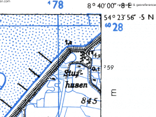 Reduced fragment of topographic map de--mb--025k--16_017-ams--(1955)--N054-24_E008-30--N054-18_E008-40; towns and cities St. Peter-ording