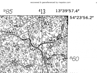 Reduced fragment of topographic map de--mb--025k--16_047-ams--(1952)--N054-24_E013-30--N054-18_E013-40