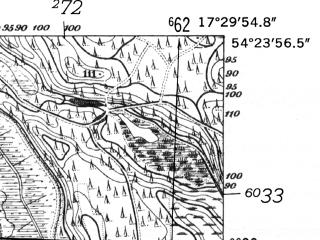 Reduced fragment of topographic map de--mb--025k--16_070-ams--(1952)--N054-24_E017-20--N054-18_E017-30