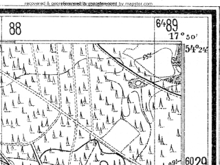 Reduced fragment of topographic map de--mb--025k--16_072--(1942)--N054-24_E017-40--N054-18_E017-50