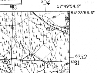 Reduced fragment of topographic map de--mb--025k--16_072-ams--(1952)--N054-24_E017-40--N054-18_E017-50