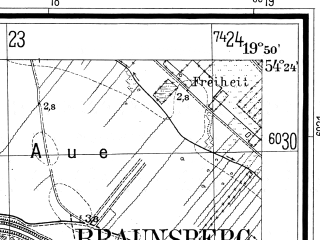 Reduced fragment of topographic map de--mb--025k--16_084--(1937)--N054-24_E019-40--N054-18_E019-50; towns and cities Braniewo
