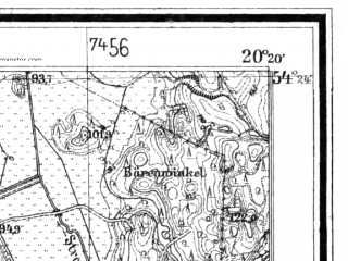 Reduced fragment of topographic map de--mb--025k--16_087--(1928)--N054-24_E020-10--N054-18_E020-20