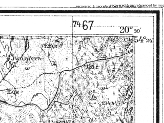 Reduced fragment of topographic map de--mb--025k--16_088--(1943)--N054-24_E020-20--N054-18_E020-30; towns and cities Sagnity