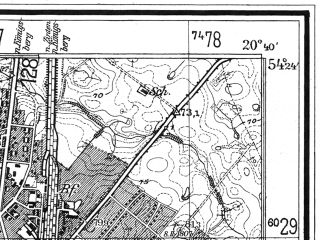 Reduced fragment of topographic map de--mb--025k--16_089--(1937)--N054-24_E020-30--N054-18_E020-40; towns and cities Bagrationovsk