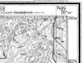 Reduced fragment of topographic map de--mb--025k--16_090--(1938)--N054-24_E020-40--N054-18_E020-50; towns and cities Glomno