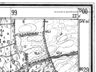 Reduced fragment of topographic map de--mb--025k--16_091--(1937)--N054-24_E020-50--N054-18_E021-00