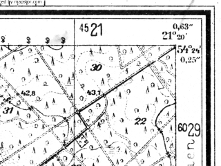 Reduced fragment of topographic map de--mb--025k--16_093--(1944)--N054-24_E021-10--N054-18_E021-20