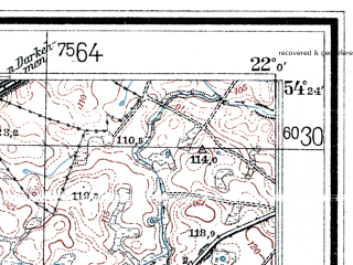 Reduced fragment of topographic map de--mb--025k--16_097--(1936)--N054-24_E021-50--N054-18_E022-00