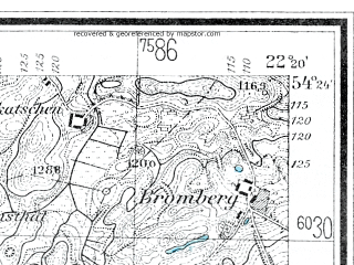 Reduced fragment of topographic map de--mb--025k--16_099--(1925)--N054-24_E022-10--N054-18_E022-20; towns and cities Goldap