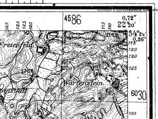 Reduced fragment of topographic map de--mb--025k--16_099--(1944)--N054-24_E022-10--N054-18_E022-20; towns and cities Goldap