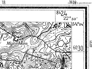 Reduced fragment of topographic map de--mb--025k--16_102--(1940)--N054-24_E022-40--N054-18_E022-50