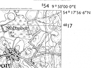 Reduced fragment of topographic map de--mb--025k--17_024-ams--(1955)--N054-18_E009-40--N054-12_E009-50; towns and cities Rendsburg