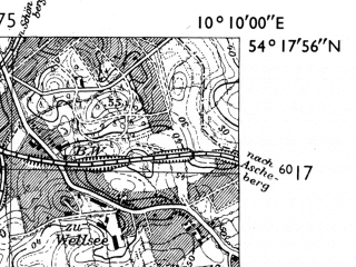 Reduced fragment of topographic map de--mb--025k--17_026-ams--(1955)--N054-18_E010-00--N054-12_E010-10