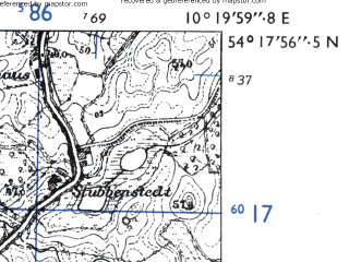 Reduced fragment of topographic map de--mb--025k--17_027-ams--(1955)--N054-18_E010-10--N054-12_E010-20; towns and cities Preetz