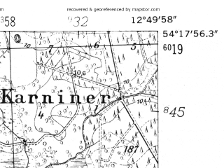 Reduced fragment of topographic map de--mb--025k--17_042-ams--(1952)--N054-18_E012-40--N054-12_E012-50