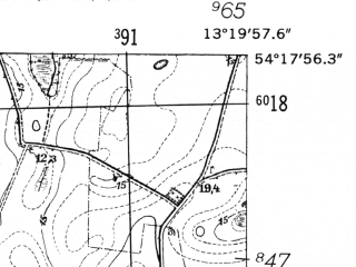 Reduced fragment of topographic map de--mb--025k--17_045-ams--(1952)--N054-18_E013-10--N054-12_E013-20